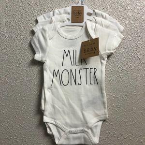 3/$33 Rae Dunn onesie baby 3 pck 3-6M milk monster